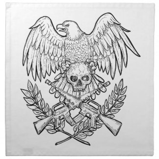 Eagle Skull Assault Rifle Drawing Napkin