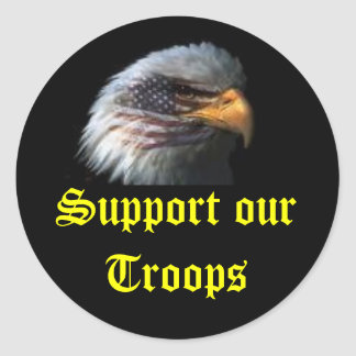 eagle, Support our Troops Round Sticker