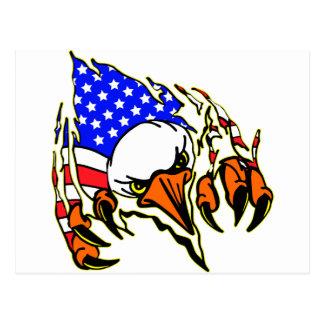 Eagle Tearout W/ American Flag Tattoo Postcard