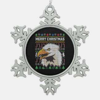 Eagle Ugly Christmas Sweater Wildlife Series Snowflake Pewter Christmas Ornament