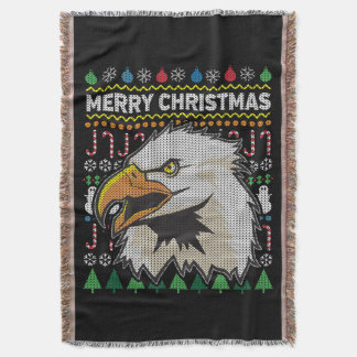 Eagle Ugly Christmas Sweater Wildlife Series Throw Blanket