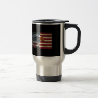 Eagle with american flag stainless steel travel mug