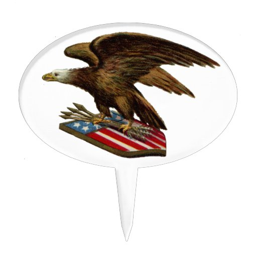 Eagle with Arrows on Shield Oval Cake Topper