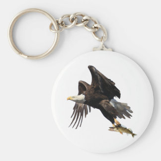 Eagle with Fish Basic Round Button Key Ring
