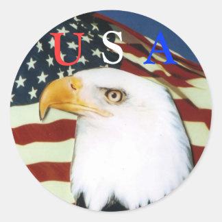Eagle with flag, U, S, A scker Round Sticker