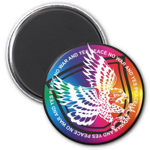 Eagle Yes Peace  No War Button Rainbow Magnet