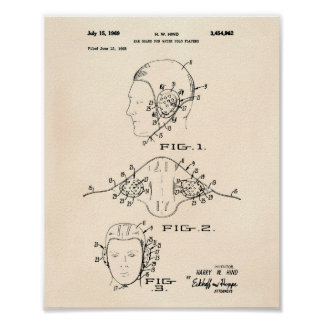Ear Guard Water Polo 1969 Patent Art Old Peper Poster