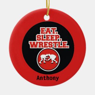 Ear, Sleep & Wrestle Christmas Ornament