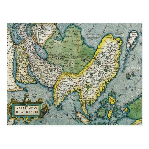 Early 16th Century Map of Asia Post Cards