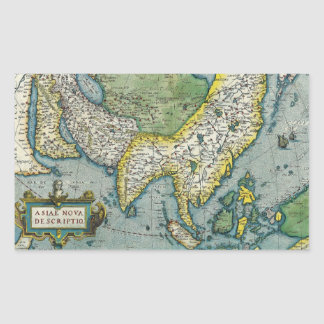 Early 16th Century Map of Asia Rectangular Sticker