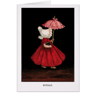 Early 1900's Sunday Sunbonnet Sue Greeting Card