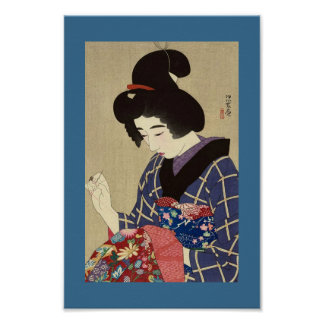 Early 1900's Vintage Japanese Image WOMAN SEWING Poster
