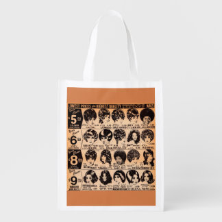 early 1970s wig advertisement reusable grocery bag