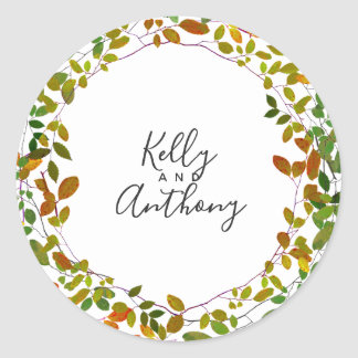 Early Autumn Botanical Wedding Classic Round Sticker