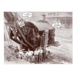Early Construction Equipment Crane Operator n Crew Postcard