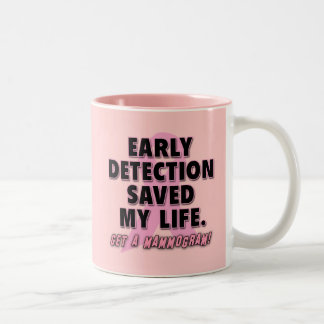 Early Detection Saves Lives Breast Cancer Design Two-Tone Mug