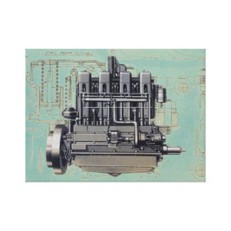 Early Equipment Engine Mechanical Drawing Artwork Canvas Print