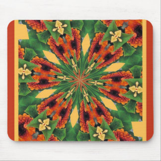 Early Fall Flowers Cheery Floral Motif Pattern Mouse Pad