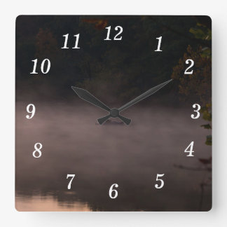 Early Foggy Fishing Square Wall Clock