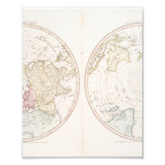 Early Map 1790 of Northern Southern Hemispheres Art Photo