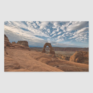 Early Morning at Delicate Arch Rectangular Sticker
