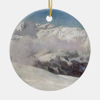 Early Morning Mist in the Mountains, Shilthorn (oi Ceramic Ornament