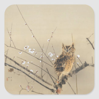 Early Plum Blossoms by Nishimura Goun, Vintage Owl Square Sticker