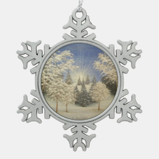 Early Snow Storm Snowflake Pewter Christmas Ornament