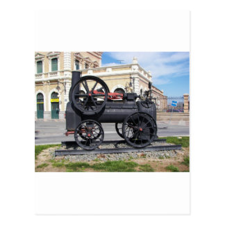 Early Steam Locomotive in Cartagena. Postcard