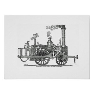 Early Steam Locomotive Poster