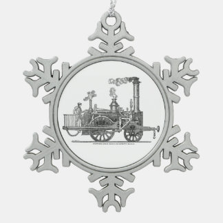 Early Steam Locomotive Snowflake Pewter Christmas Ornament