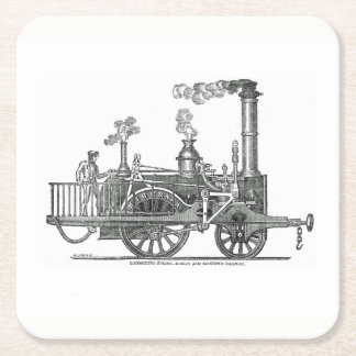 Early Steam Locomotive Square Paper Coaster