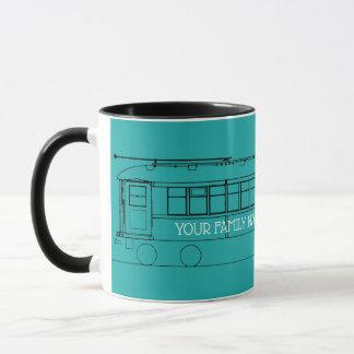 early  TROLLEY TRAIN STREETCAR  BLACK YOUR COLOR Mug