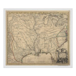 Early United States Map by Senex 1721 Poster