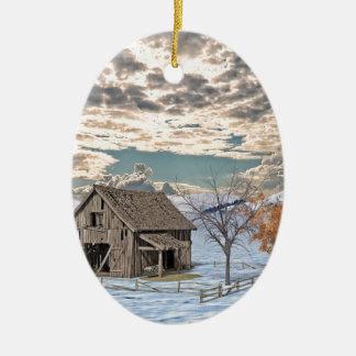 Early Winter Barn Scene Ceramic Ornament