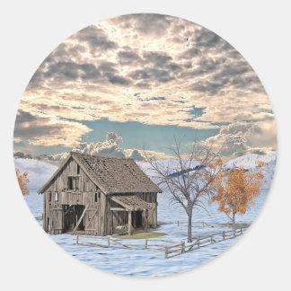 Early Winter Barn Scene Classic Round Sticker
