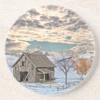 Early Winter Barn Scene Coaster