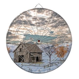 Early Winter Barn Scene Dartboard