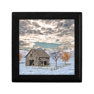 Early Winter Barn Scene Gift Box