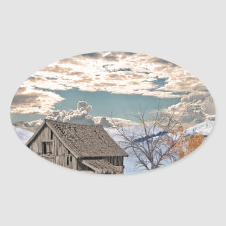 Early Winter Barn Scene Oval Sticker