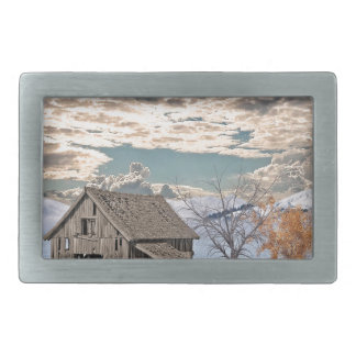 Early Winter Barn Scene Rectangular Belt Buckles