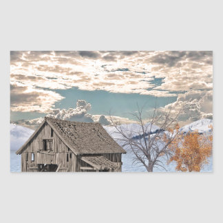 Early Winter Barn Scene Rectangular Sticker