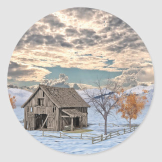 Early Winter Barn Scene Round Sticker