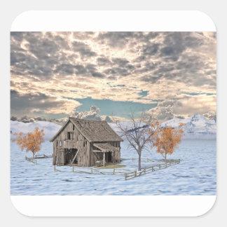 Early Winter Barn Scene Square Sticker