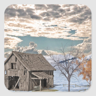 Early Winter Barn Scene Square Sticker