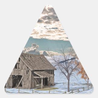Early Winter Barn Scene Triangle Sticker