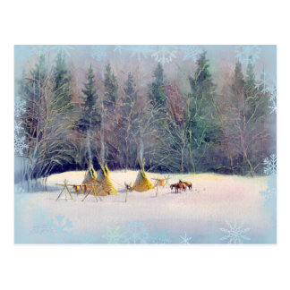 EARLY WINTER TIPI CAMP & SNOWFLAKES POSTCARD
