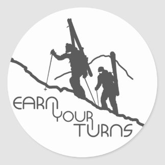 Earn Your Turns Classic Round Sticker