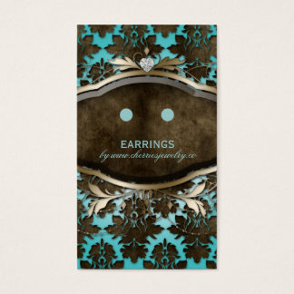 Earring Display Cards Vintage Damask Jewelry Heart