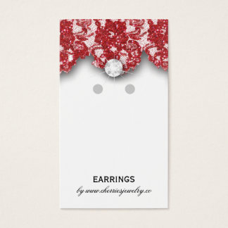 Earring Display Cards Vintage Lace Jewelry Red